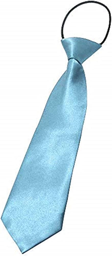 CellDeal-Satin Child Kids School Boy Wedding Elastic Neck Tie Light Blue