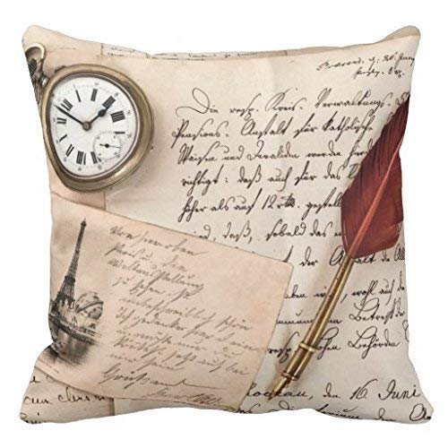 Melvin L Vintage Old Paper Pen Watch Writing Stamp Postcard Throw Pillow Case ()
