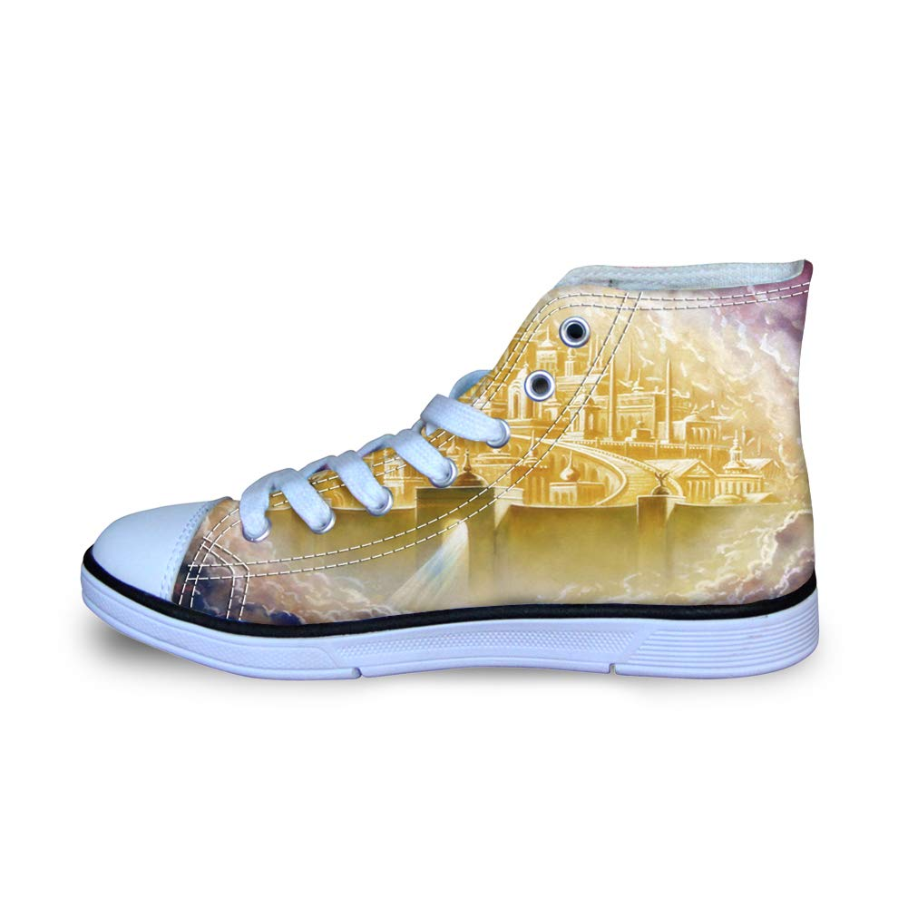 Canvas High Top Sneaker Casual Skate Shoe Boys Girls Heaven Gold Holy City Jerusalem