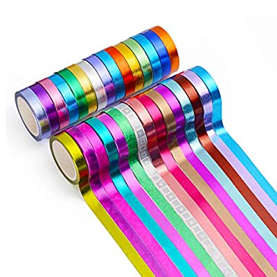 30 Rolls Washi Tape,Multi-Colored & Gold Metallic Washi Masking Tape - 8mm x 4m Rainbow Paper Tape for DIY Crafts from Aapozz