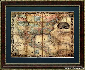 Amazon framed old world map 19th century united states of framed old world map 19th century united states of america highest quality gumiabroncs Image collections