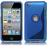 iPod Touch4 TPU Sデザインソフトケースカバー 液晶保護フィルム&クリーナー1セット付属 (ブルー)