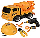 Think N Thrill Take Apart Toy Truck & Tool Set for Kids Build Your Own Construction Toy with Lots of Tools & Electric Drill Included - Great Educational Gift Idea for Children - Hours of Fun