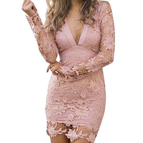 Juleya Mujer Elegante De Encaje Sin Espalda Bodycon Coctel Vestido De Fiesta Rosado