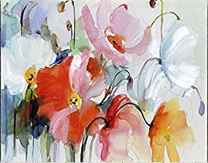 Bahndad Bordado Completo De Diamantes, Flores Abstractas Amapola, 5D Bricolaje Diamante Pintura Punto De Cruz Mosaico Imágenes Arte 40X50Cm/15.74X19.68In