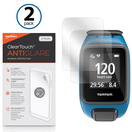 TomTom Spark Screen Protector, BoxWave® [ClearTouch Anti-Glare (2-Pack)] Anti-Fingerprint Matte Film Skin for TomTom Spark