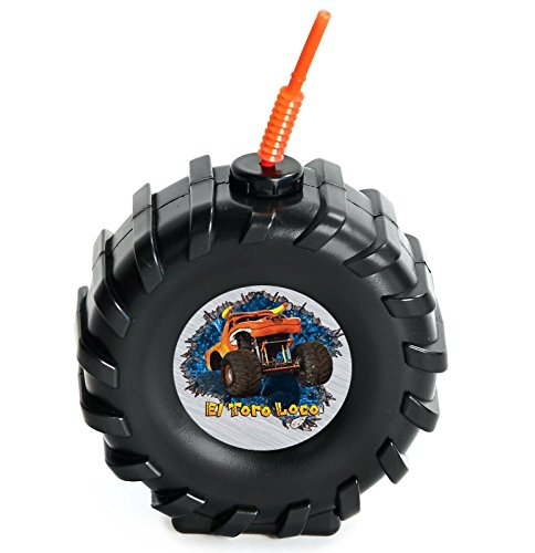 Monster Jam Childrens Birthday Party Supplies - Truck Tire Plastic Sippy Cup with Straw (4)