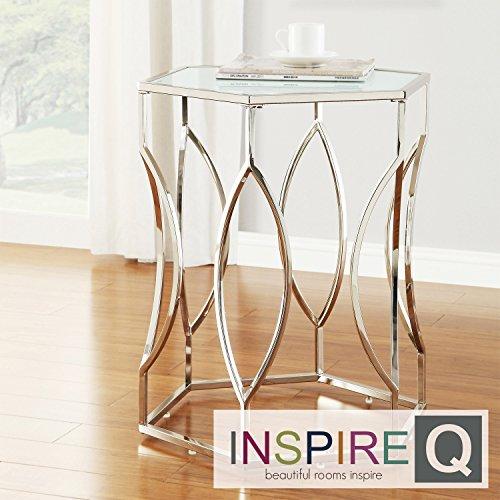 Metro Shop INSPIRE Q Davlin Hexagonal Metal Accent Table-Kona Contemporary Chrome Hexagon Accent ()