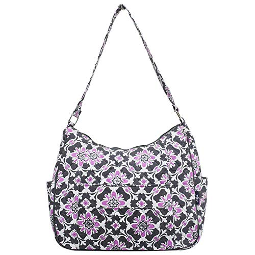 Ngil Quilted Cotton Hobo Shoulder Bag (Purple Quatro Vine)