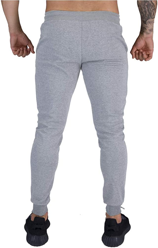 BUXKR Mens Running Pants Slim Fit Cotton Sports Sweatpants with Big Pockets for Jogging and Workout