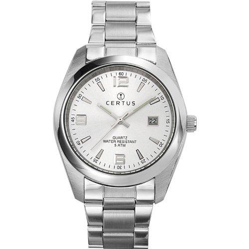 Certus 615316 - Reloj analógico de Cuarzo para Hombre con Correa de Acero Inoxidable, Color Plateado