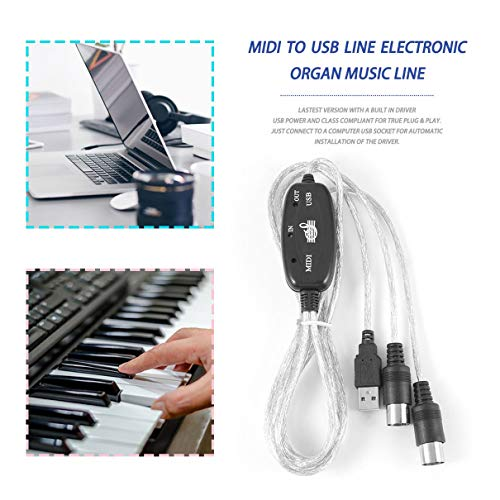 MIDI to USB IN-OUT Interface Cable Adapter for Keyboard Electronic Drum Music Create Converter PC to Music Keyboard Cord