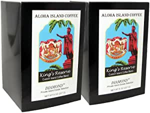 Aloha Island, Kona Smooth Diamond Kings Reserve Hawaiian Blend Coffee Pods, 2 Boxes of 18 Pods Each