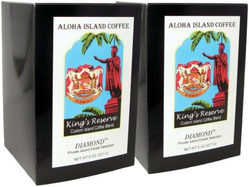 Aloha Island, Kona Smooth Diamond Kings Reserve Hawaiian Blend Coffee Pods, 2 Boxes of 18 Pods Each
