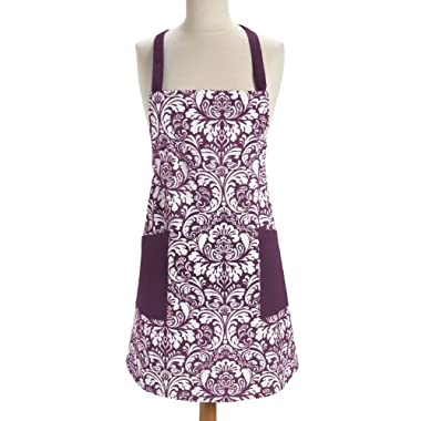DII 100% Cotton, Fashion Printed Damask Chef Kitchen Apron, Adjustable Neck Strap & Waist Ties, Machine Washable, Front Pockets, Perfect for Cooking, Baking, Barbequing, & More - Eggplant