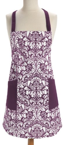 DII 100% Cotton, Fashion Printed Damask Unisex Chef Kitchen Apron, Adjustable Neck Strap & Waist Ties, Machine Washable, Front Pockets, Perfect for Cooking, Baking, Barbecuing, & More - Eggplant (Tie Apron)