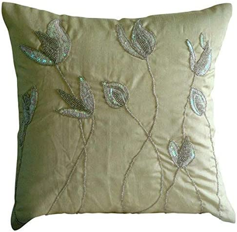 Luxury Cream Euro Sham Covers 26×26 inch 65×65 cm , Silk European Shams, Nature Floral, Lily, Contemporary European Pillow Covers – Lily of The Valley