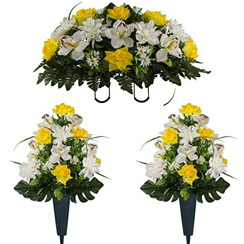White Orchid Bouquets - Sympathy Silks Artificial Cemetery Flowers - Realistic Elegant Orchids, Outdoor Grave Decorations - Non-Bleed Colors, Easy Fit - Two Yellow White Orchids Bouquets and One Yellow White Orchids Saddle