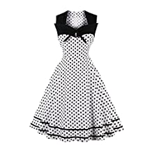 Women Patchwork Polka Dot Bowknot Skirt Vintage 1950s Party Midi Swing Dress