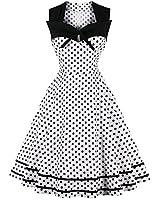 Women Sleeveless Patchwork Polka Dot Bowknot Vintage 1950s Cocktail Midi Dress (XX-Large,White Polka Dots)