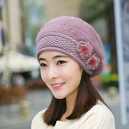 Syksdy New Autumn and Winter Ladies Fashion Hair Thick Beret A Purple