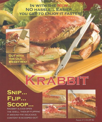 The KRABBIT a stainless steel, seafood utensil crab opener a shell food tool called the KRABBIT