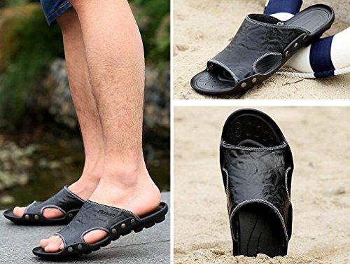 Juleya Mens Leather Flip-Flop Sandals Beach Home Summer Holiday Casual Flat Flip-Flops Outdoor Slip-On Slipper Shoes for Men Black WIEmSPJHo