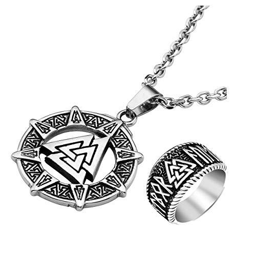 (PiercingJ 2pcs Vintage Mens 316L Stainless Steel Nordic Norse Viking Valknut Warrior's Necklace Odin Symbol Rune Amulet Ring Set Scandinavian Viking Jewelry)