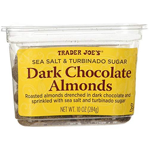 Trader Joe's Sea Salt & Turbinado Sugar Dark Chocolate Almonds (Pack Of 2) (Chocolate Sugar Covered)