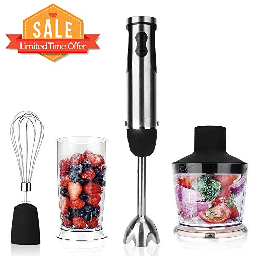 KOIOS Powerful 12-Speed Immersion Blender, Stainless Steel Stick Blender, Ergonomic Comfortable Grip with 2-Cup BPA Free Food Processor, Whisk, ETL Safety Certified, Hand Blender/Mixer