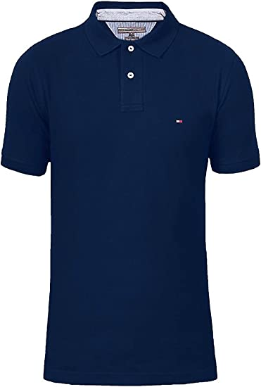 Tommy Hilfiger 40 s Two Ply Cotton – Polo para Hombre Azul Marino ...