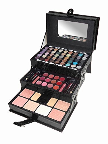 Cameo Matte All-in-one Makeup Kit, Crocodile Leather, Black (Best All In One Makeup Kit)