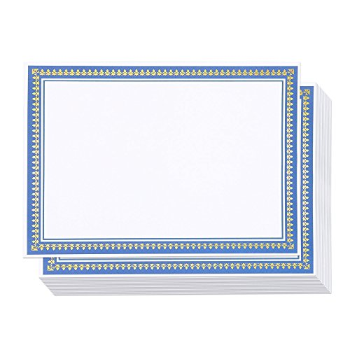 50 Pack Certificate Paper - Embellished Blue & Gold Foil Border Blank Award Certificate Computer Paper for Recognition, Graduation Diploma, Schools, Employees - 8.5 x 11 inches - 50 Count