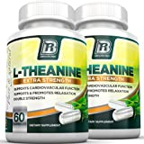 BRI Nutrition 200mg L-Theanine Enhanced with 100 mg of Inositol - 2-Pack, 60 Count each 200mg L Theanine Veggie Capsules