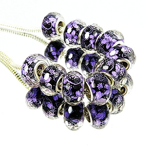 - TianBo Top Quality 100Pcs Silver Plate Purple Flower Theme Acrylic European Charms Beads Spacers Fit European Style Beads with Plating Silver Double Core