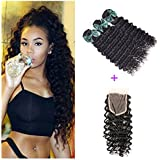 """Perstar hair 7A Grade Brazilian Deep Wave 3 Bundles with Closure Uprocessed Virgin hair with 4""""4"""" lace closure free part"""