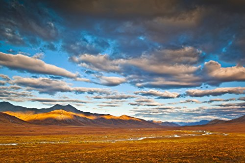 Evening light on Brooks Range with the Chandalar River meandering through colorful tundra in the foreground Gates of The Arctic National Park & Preserve Arctic Alaska Autumn Poster Print (38 x 24)