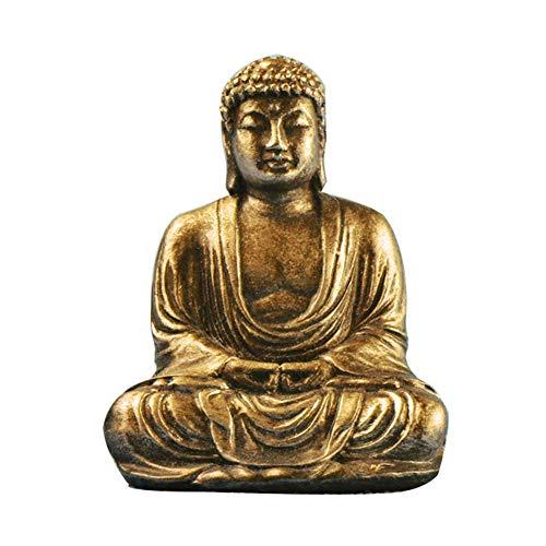 YOEDAF Mini Buddha Statue, Mini Zen Sitting Meditation Buddha Resin Figurine Ornament Sculpture Indoor Home Outdoor Garden Decor(Gold)