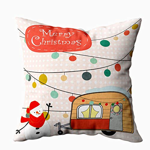 Musesh Sofa Zip Pillow Covers, Vintage Cute Winter Snowman and Van Cartoon Romantic Funny Party Background Pattern Draw Doodle Comic for Sofa Home Decorative Pillowcase 20X20Inch Pillow Covers (Jeremy Christmas Lights Brown)