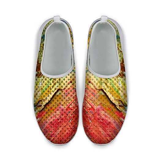 FOR U DESIGNS Fashion Pigment Pattern Womens Slip On Mesh Running Shoes Yellow NrbQMGdt