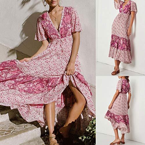 Summer Donna Elastico Dragon868 Vestito Loose Sleeve Dress Stampa A Vita Women Estate Tunica Printed Brasiliana Alla Beachwear Caviglia Corta Rosa Short Alta Manica CBrdeox
