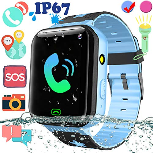 Kids Waterproof Smart Watch Phone with GPS Tracker - 1.5'' Touchscreen Smartwatch with SIM Slot SOS Anti-Lost Camera Flashlight Alarm Clock Phone Wrist Watch Birthday Gift (IP68 Waterproof, - Watch Wrist Phone