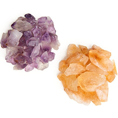 Digging Dolls: 1/2 lb Amethyst and 1/2 lb Citrine Rough Rocks from Brazil - 1 lb Total Weight of Raw Crystal Stones for Arts, Crafts, Tumbling, Wire Wrapping, Wicca and Reiki Crystal Healing