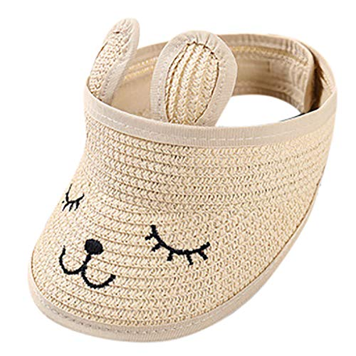 Sanyyanlsy 1-7 Year-Old Child Cute Embroidery Rabbit Visor Foldable Fastener Tape Sun Hat Sun Protection Adjustable Cap Beige