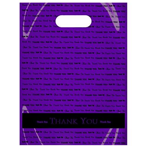 "9"" x 12""""Thank You"" Die Cut Handle Plastic Bags 50/cs (Purple)"