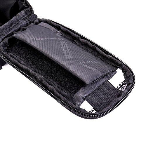 DrafTor Fahrradtaschen Gepäckträger, Rahmentaschen Fahrrad Touchscreen Fahrrad Lenkertasche Handyhalterung Navigationshalterung Wasserdicht für Handy Oben 4.8 Zoll schwarz3