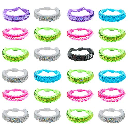 24 Pieces Sequin Stretch Bracelets for Girls and Women - Assorted Multicolored Bracelet Set - Party Favors and Stocking Stuffers for Tween and -