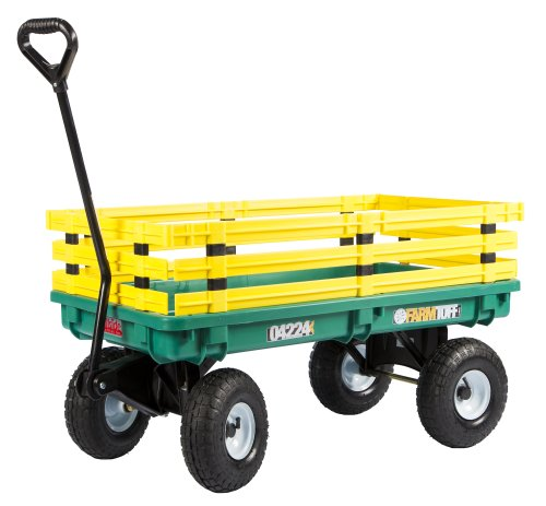 Farm Tuff Plastic Deck Wagon Green with Yellow Removable Racks, 20-Inch by ()