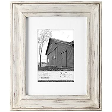 Malden International Designs Whitman White Wash Matted Wood Picture Frame, 5 by 7-Inch