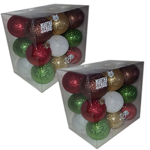 (Martha Stewart Everyday 18 Shatter Proof Ornaments Set of 2 Gift Bundle)
